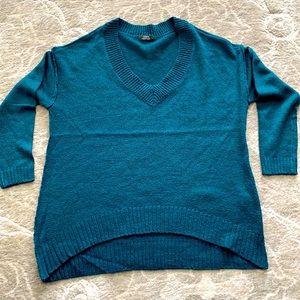Turquoise V Neck Drop Sleeve Sweater